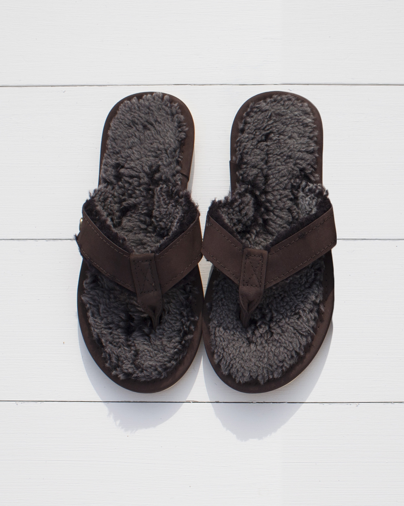 e555f3a02c5adb Shearling Flip-flops. Double tap to zoom