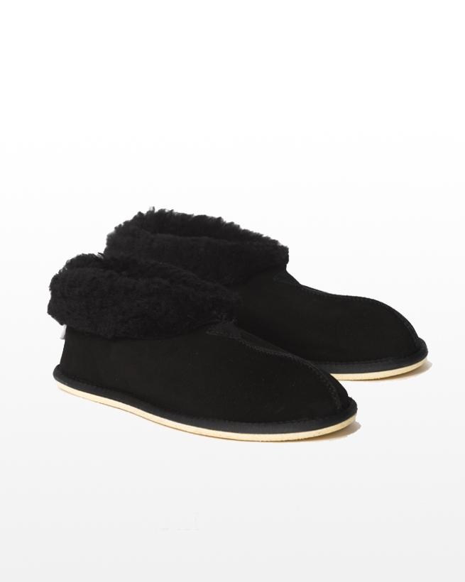 Mens Sheepskin Bootee Slipper - Size 9 - Black - 1303