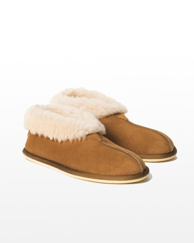 Mens Sheepskin bootee slipper - Size 11 - Burnt honey - 1970