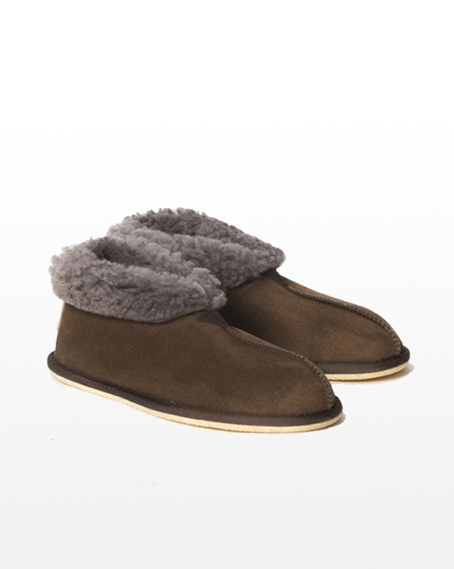 Men's Sheepskin Bootee Slipper - Size 12 - Khaki - 2026