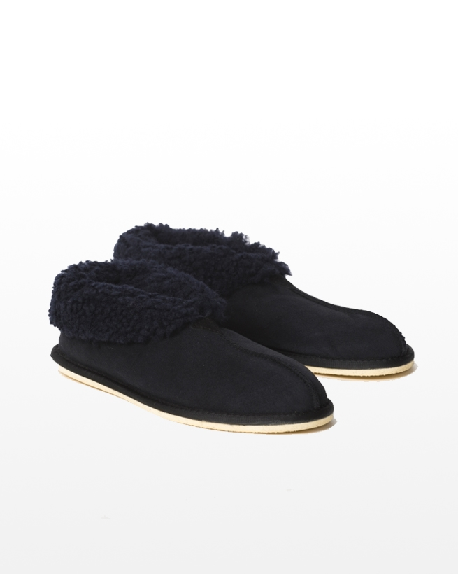 Men's Sheepskin Bootee Slipper - Size 8 - Navy - 2041
