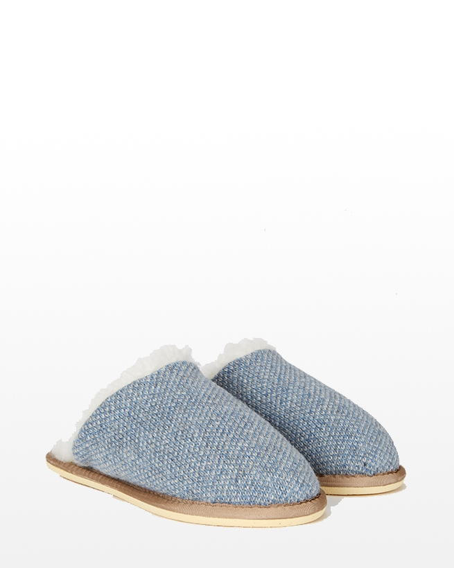 Knitted Mules - Size 13 - Blue Marl - 981