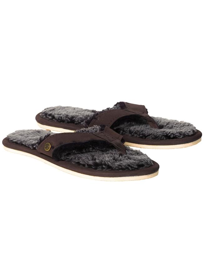 Shearling Flip Flops - Size 8 - Mocca - 2067