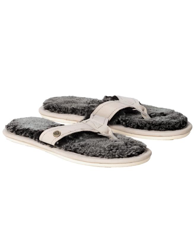 Shearling Flip Flops - Size 4 - Stone - 2066