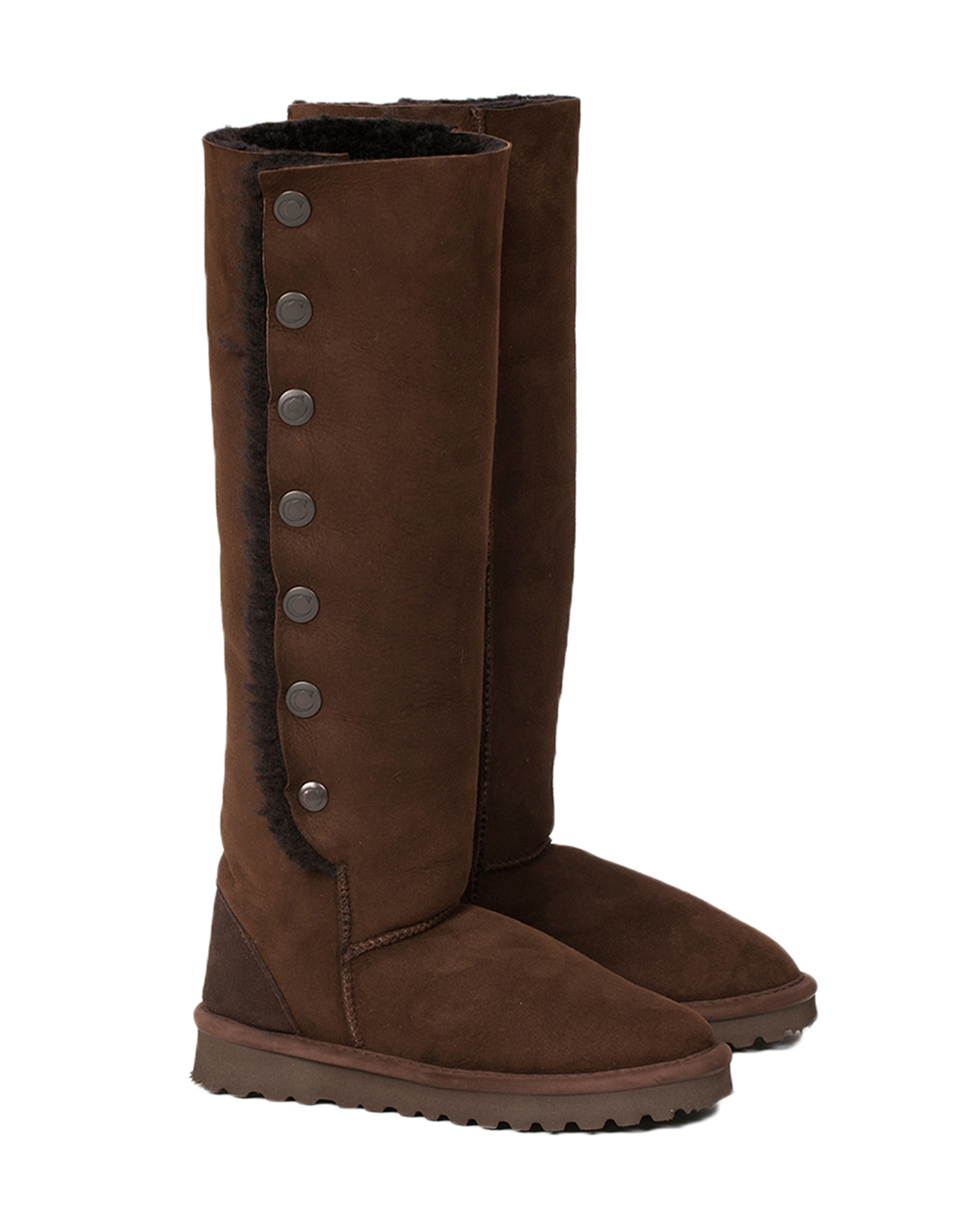 Popper Knee Boots - Size 5 - Mocca - 1646