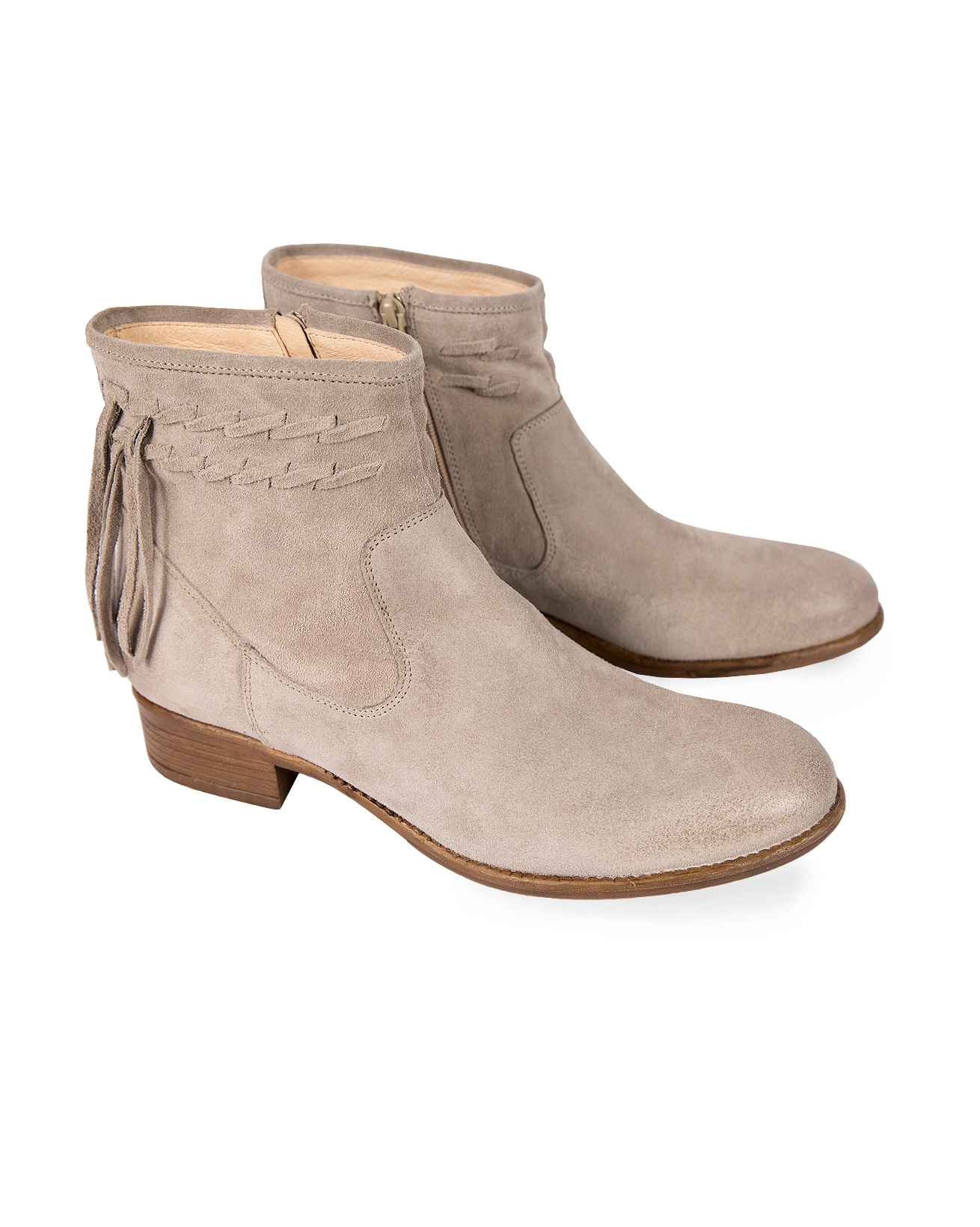Pale grey Suede Ankle Boots with Fringe Details - Size 37 - 10b