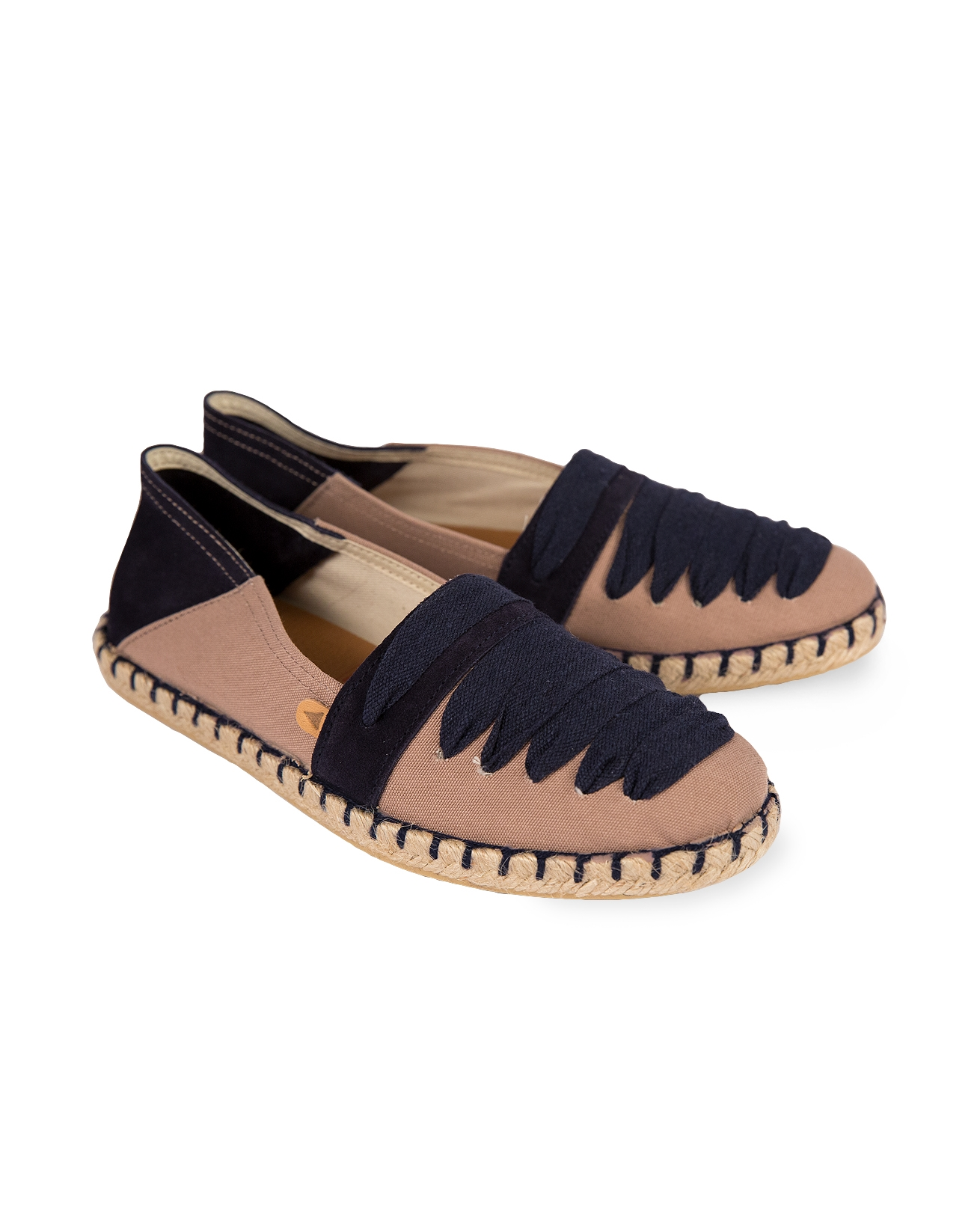 Navy & Taupe Lace Detail Espadrilles - Size 37 - 27