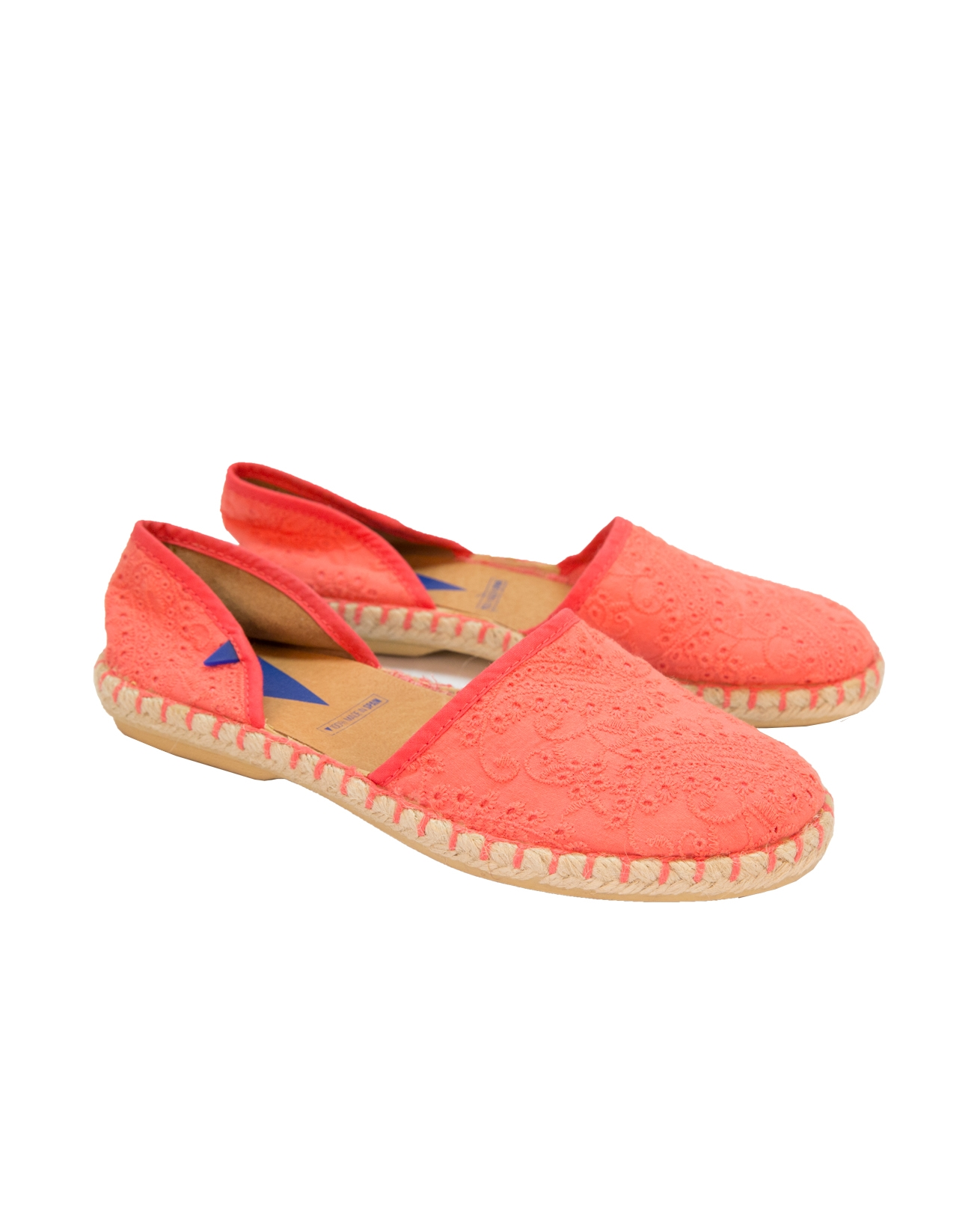 Canvas Pattern Flat Espadrille - Size 3 - Coral - 72