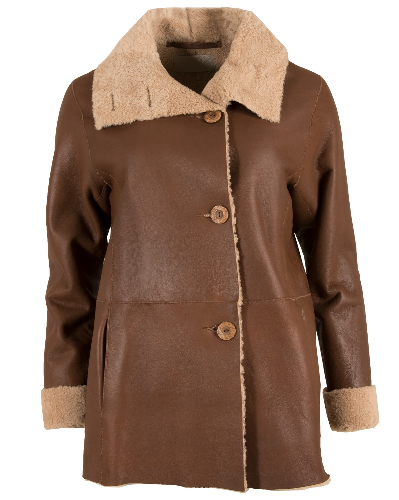 Vintage Box Sheepskin Coat - Size 10 - Tan - 644