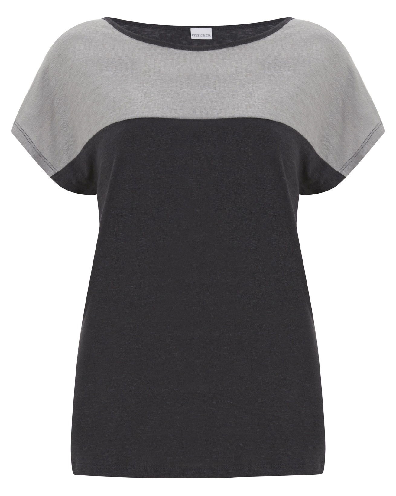 Linen Colourblock Top - Size 10 -  Navy / Grey - 368