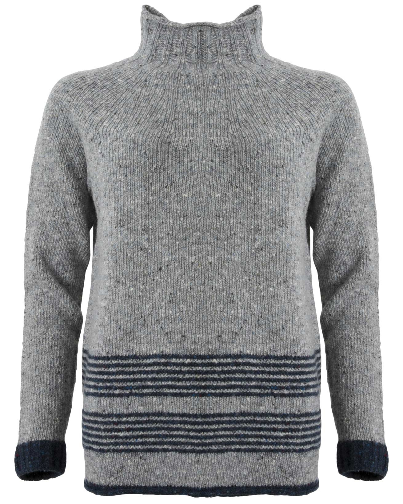 Flecked Funnel Neck - Size Medium - Blue Marl / Navy - 1532