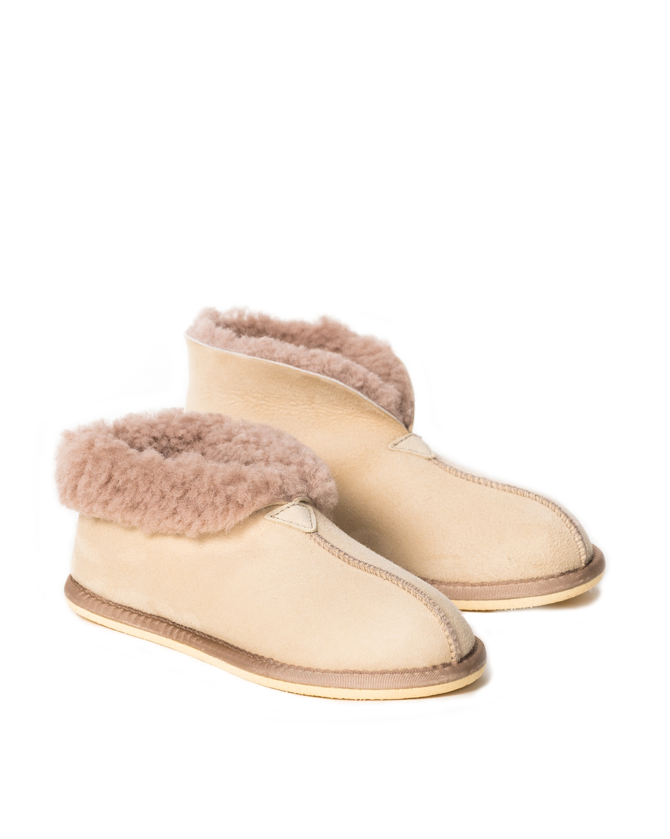 Ladies Sheepskin Bootee Slipper - Size 6 - Oatmeal - 2073