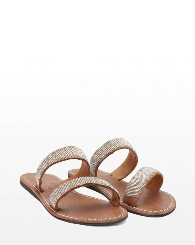 TISA BEADED SANDALS - 41 - TAN/SILVER - 348A