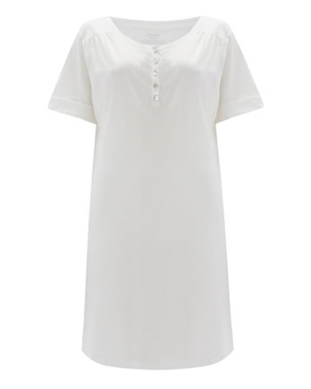 Organic Short Sleeve Nightie - Size Small - Chalk