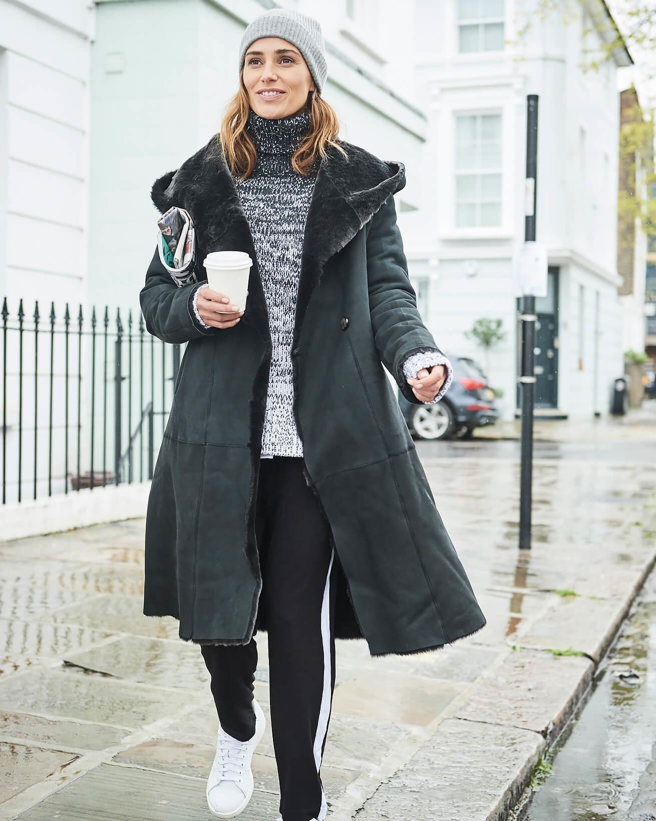 Shawl Collar Hooded Coat