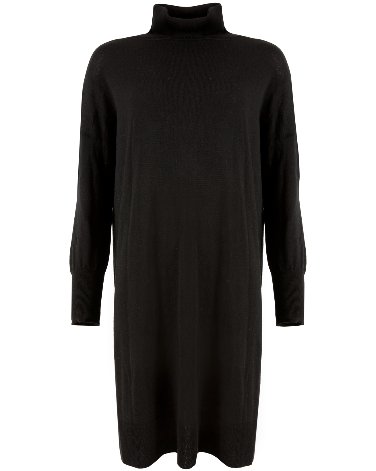 Slouchy Fine Knit Roll Neck Dress - Small - Black - 1099