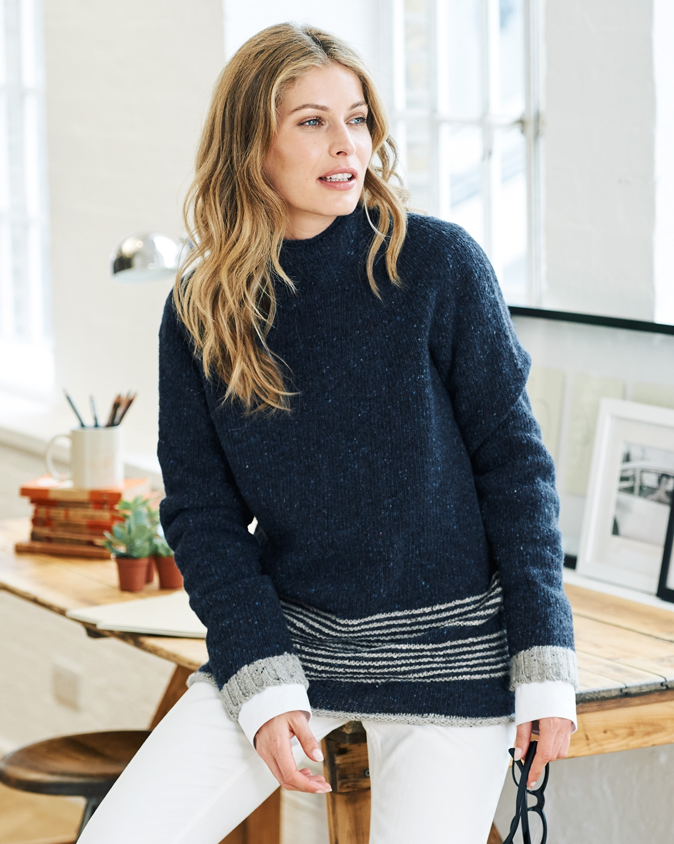 Stitch Stripe Hem Sweater