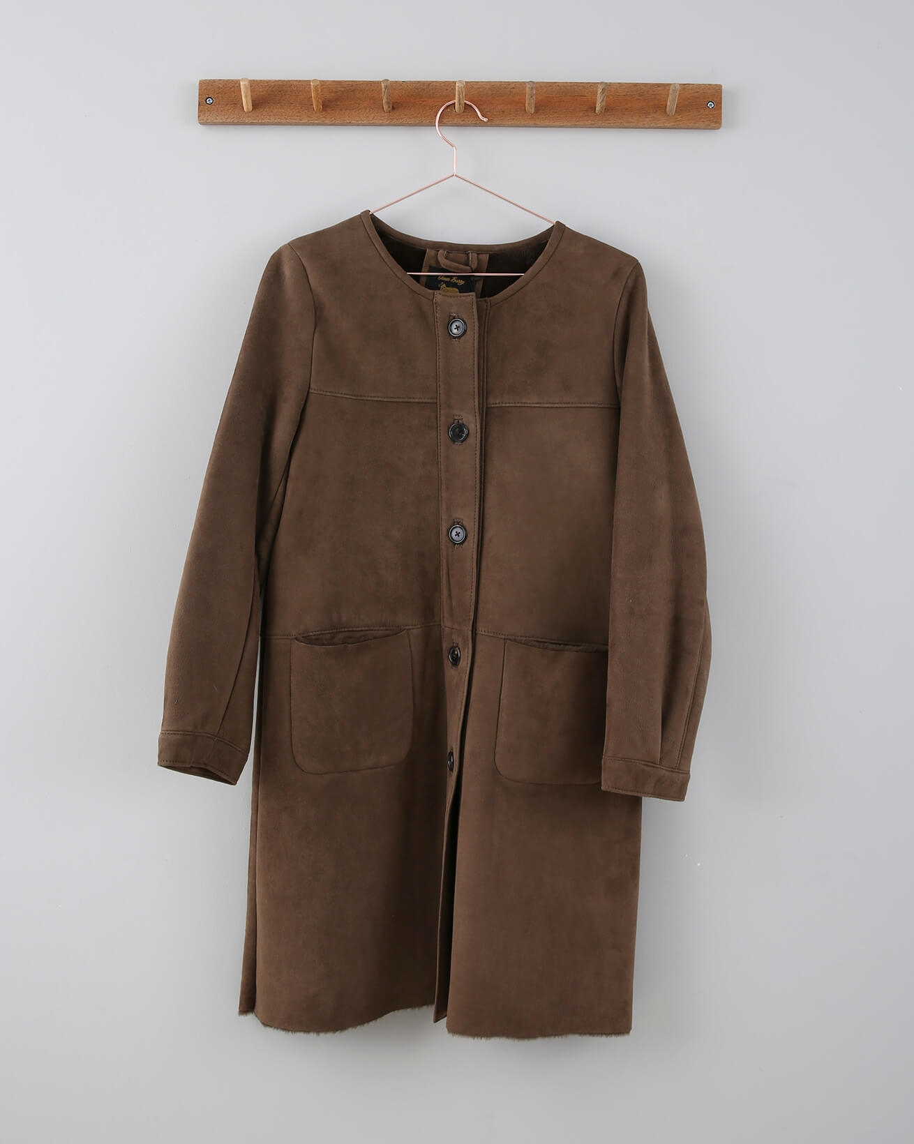 Collarless Suede Sheepskin Coat - Small - Coffee - 676