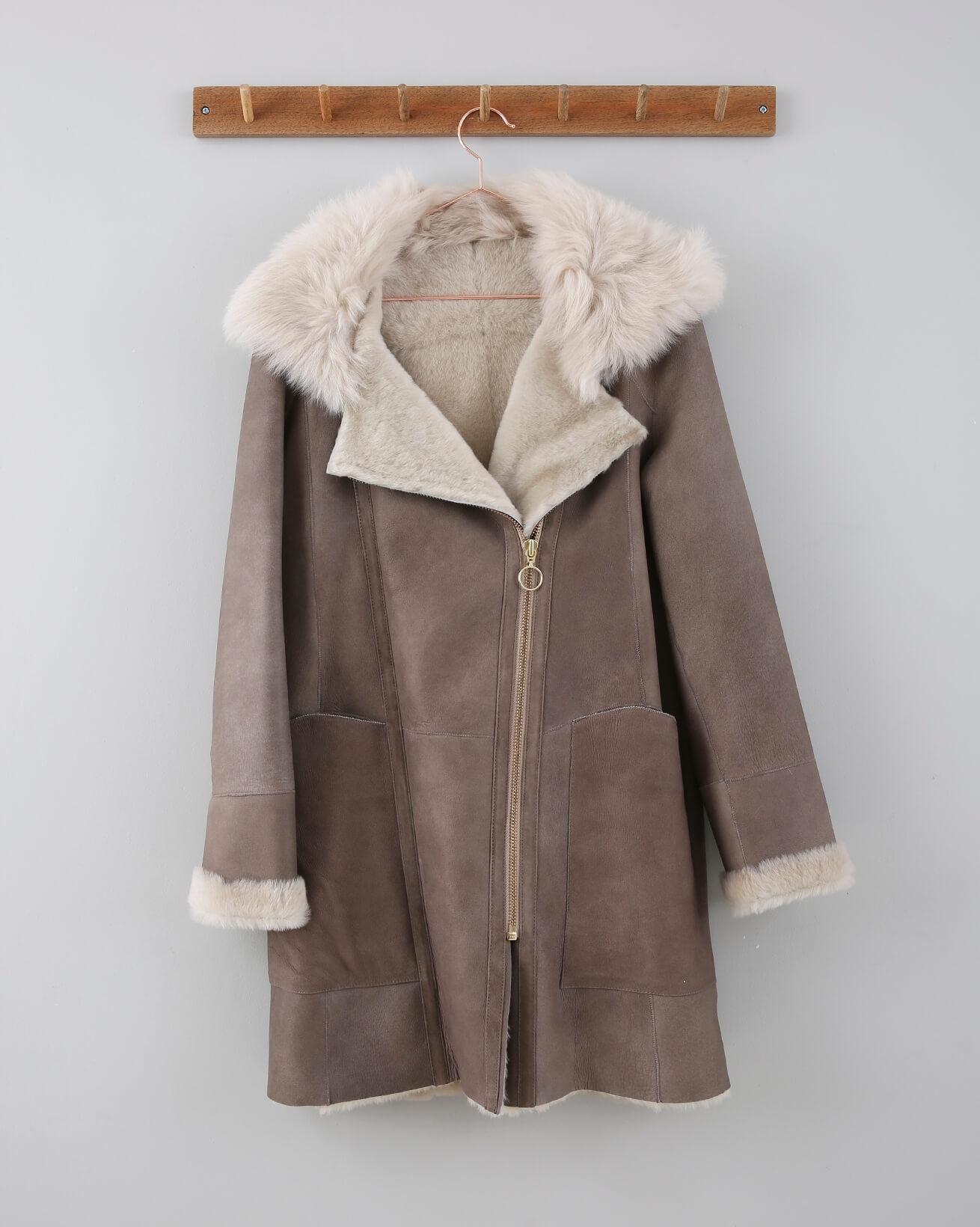 Reversible Double Zip Parka - Size 10 - Pale Grey / Ivory - 656