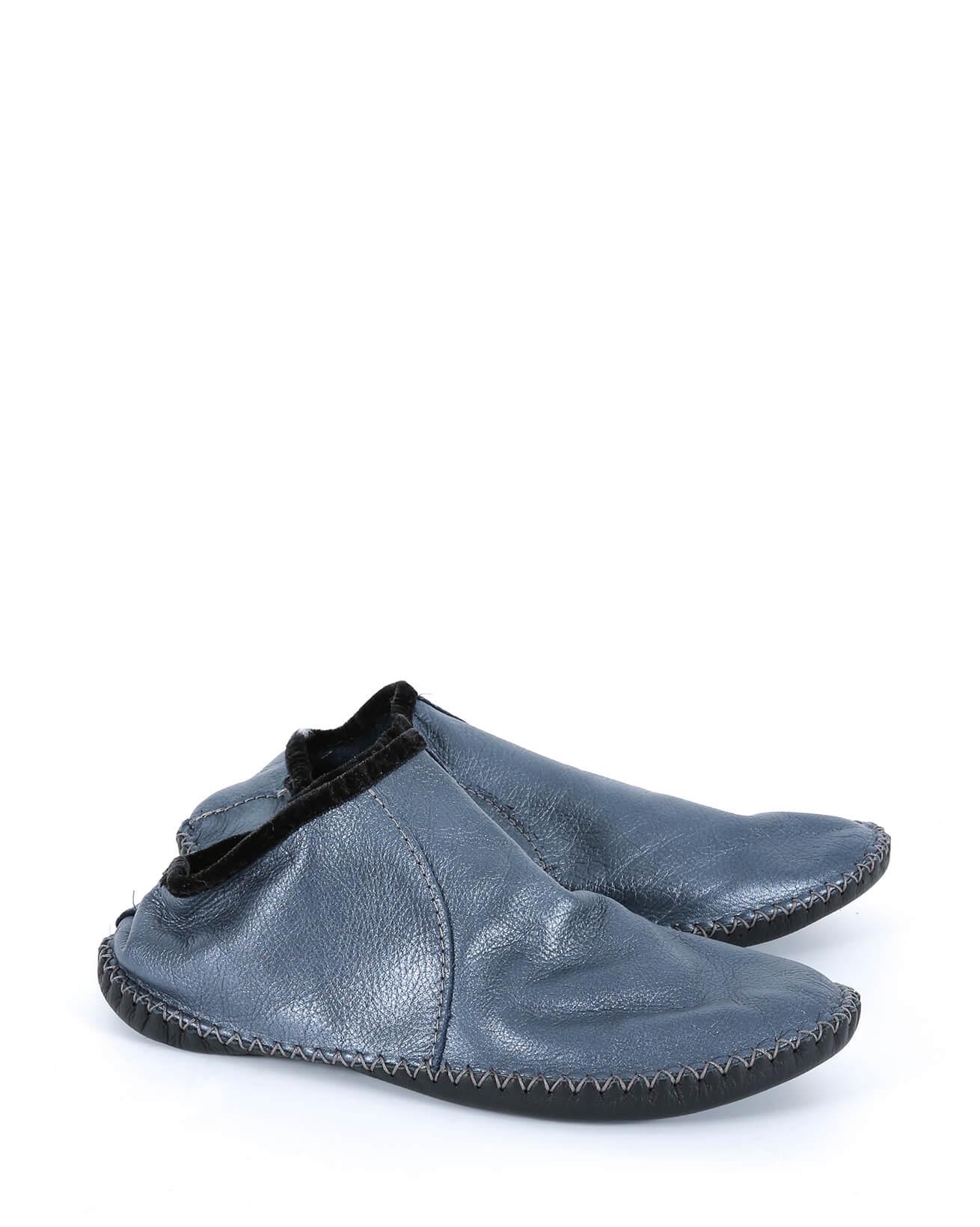 Leather Baboushka - Size 6 - Pearlised Blue - 574