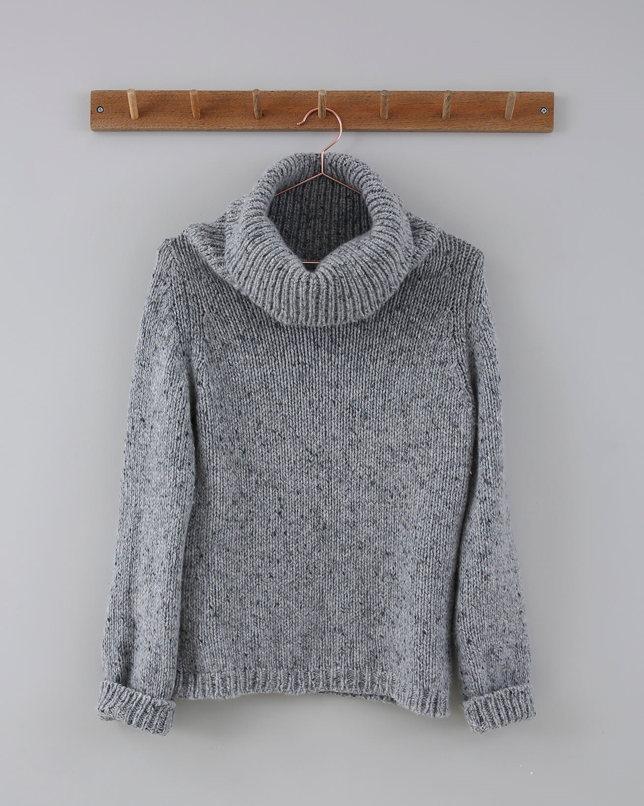 Cashmere Wide Roll Neck - Size Small - Grey Blue Fleck - 752