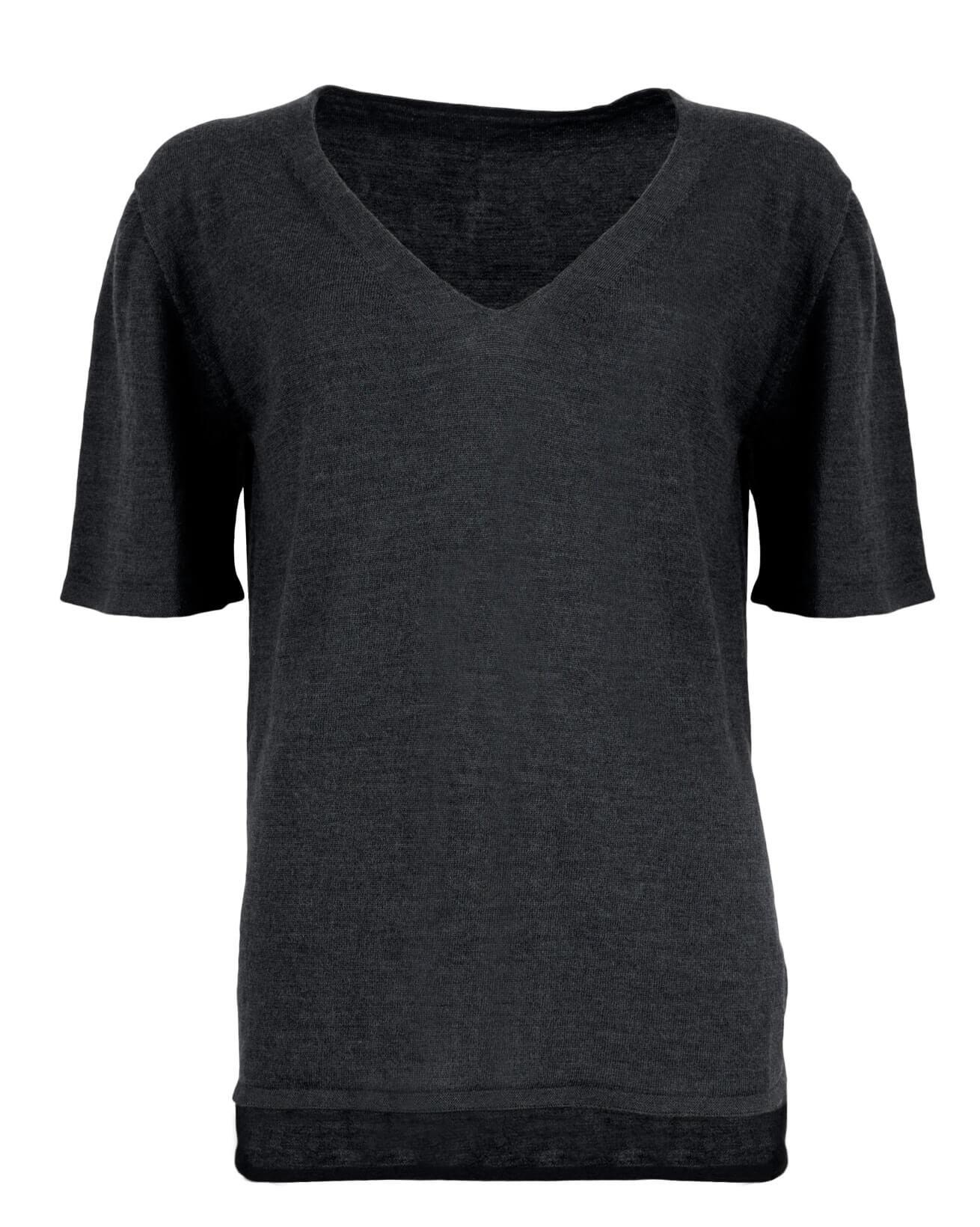 Merino Short Sleeve V Neck - Small - Charcoal - 912