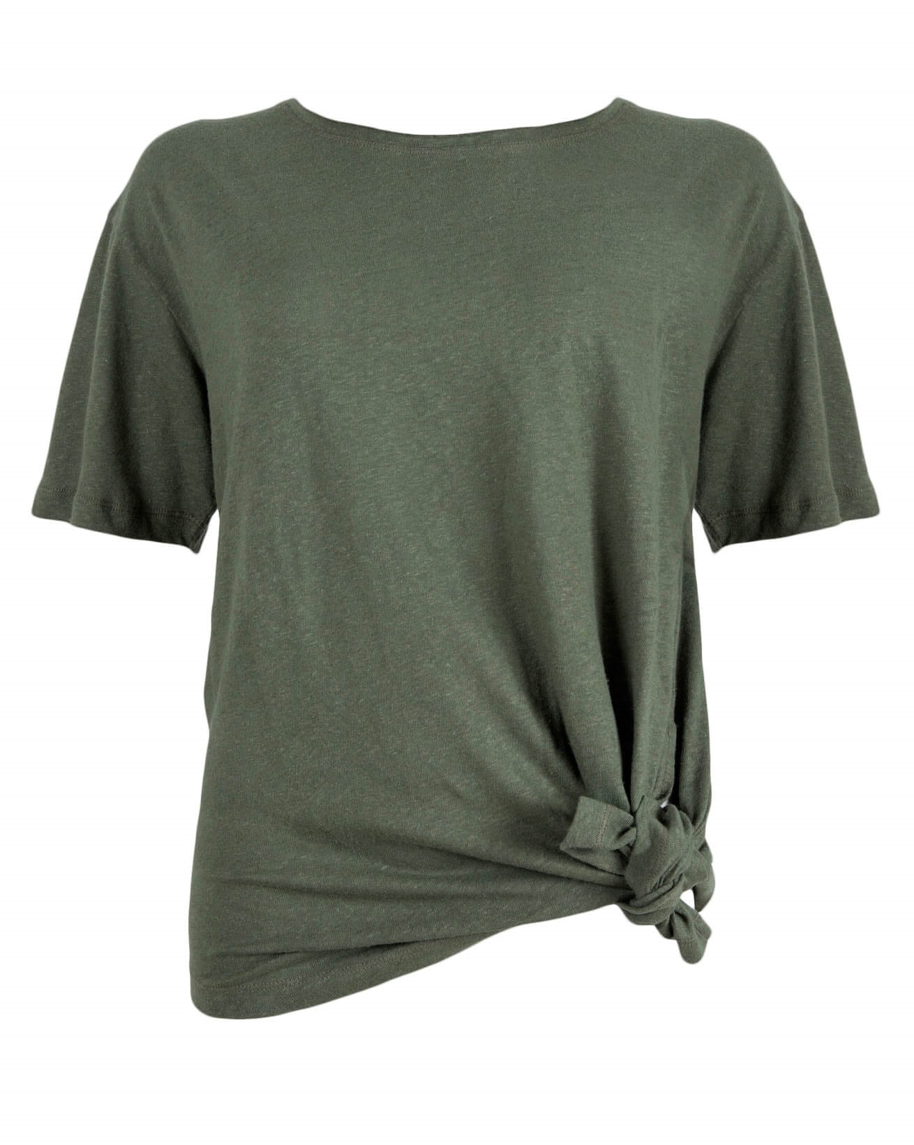 Linen Cotton Tie Waist Top - Size 12 - Khaki - 914