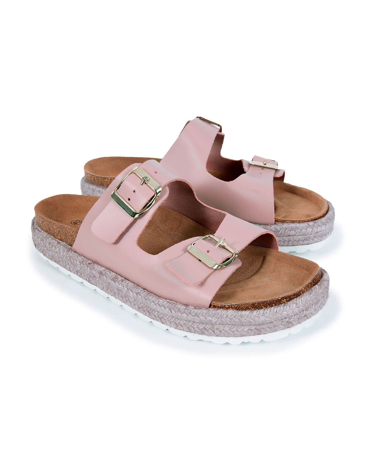 Leather Buckle Sandals - Size 40 - Blush - 1588