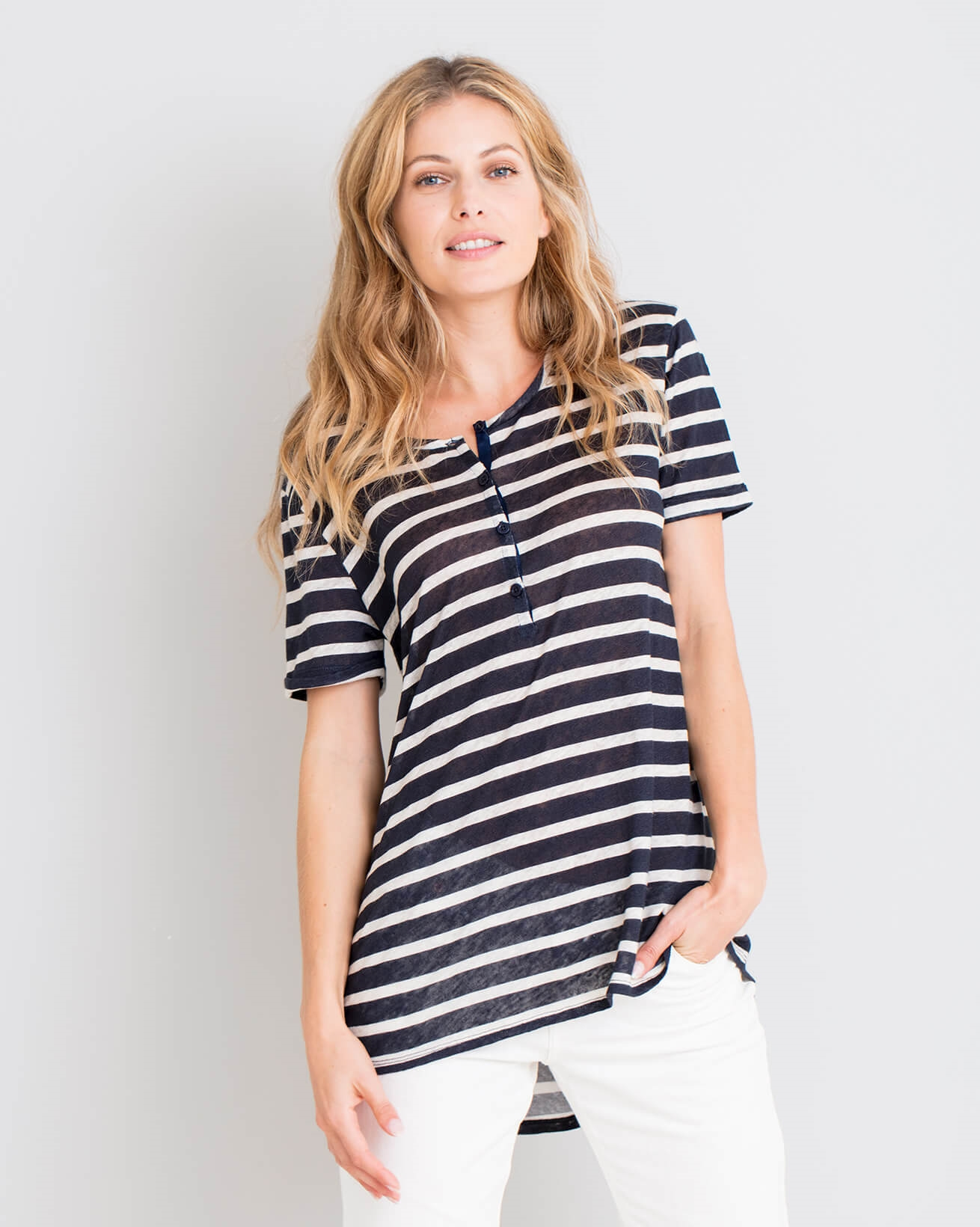 Linen Short Sleeve Henley Top