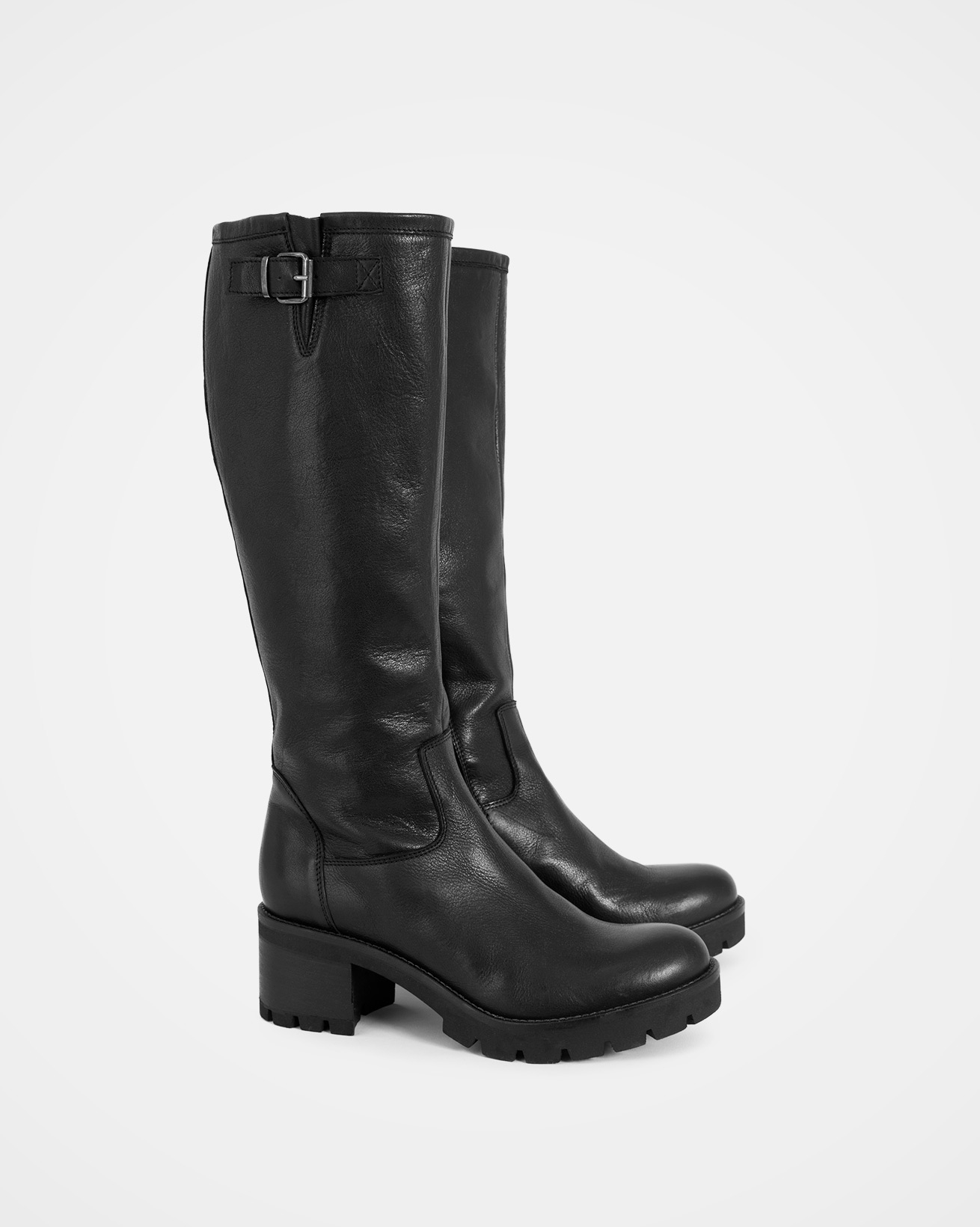 Biker Knee Boots - Size 38 - Black - 1197