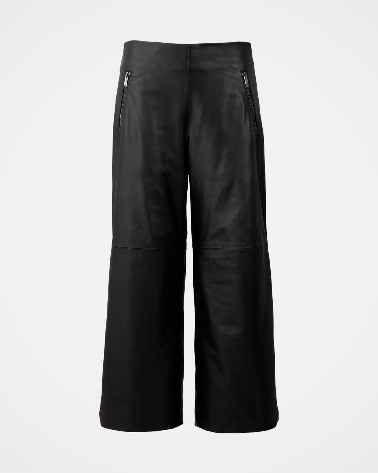 Cropped Wide Leg Leather Trousers - Size 10 - Black - 2045