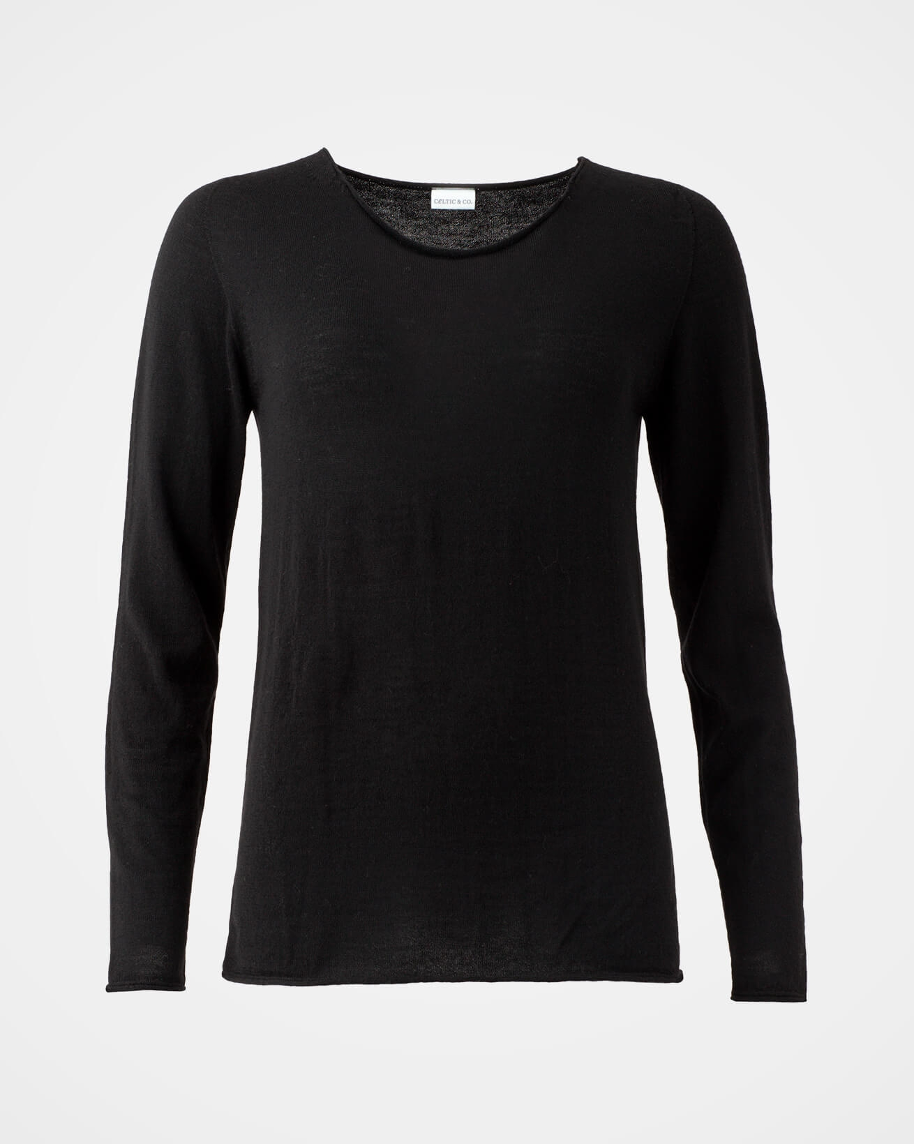 Fine Knit Merino Crew Neck - Small - Black - 1245