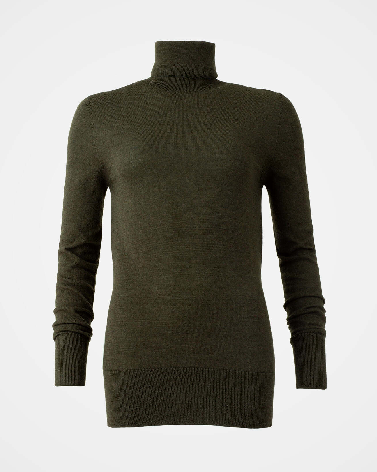 Merino Roll neck Jumper - Size Medium - Olive - 1537