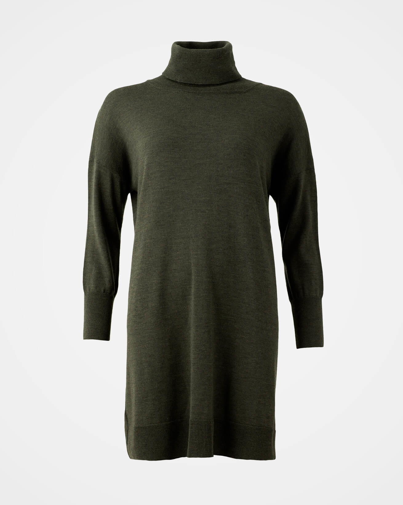 Slouchy Fine Knit Roll Neck Dress - Size Small - Olive - 1639