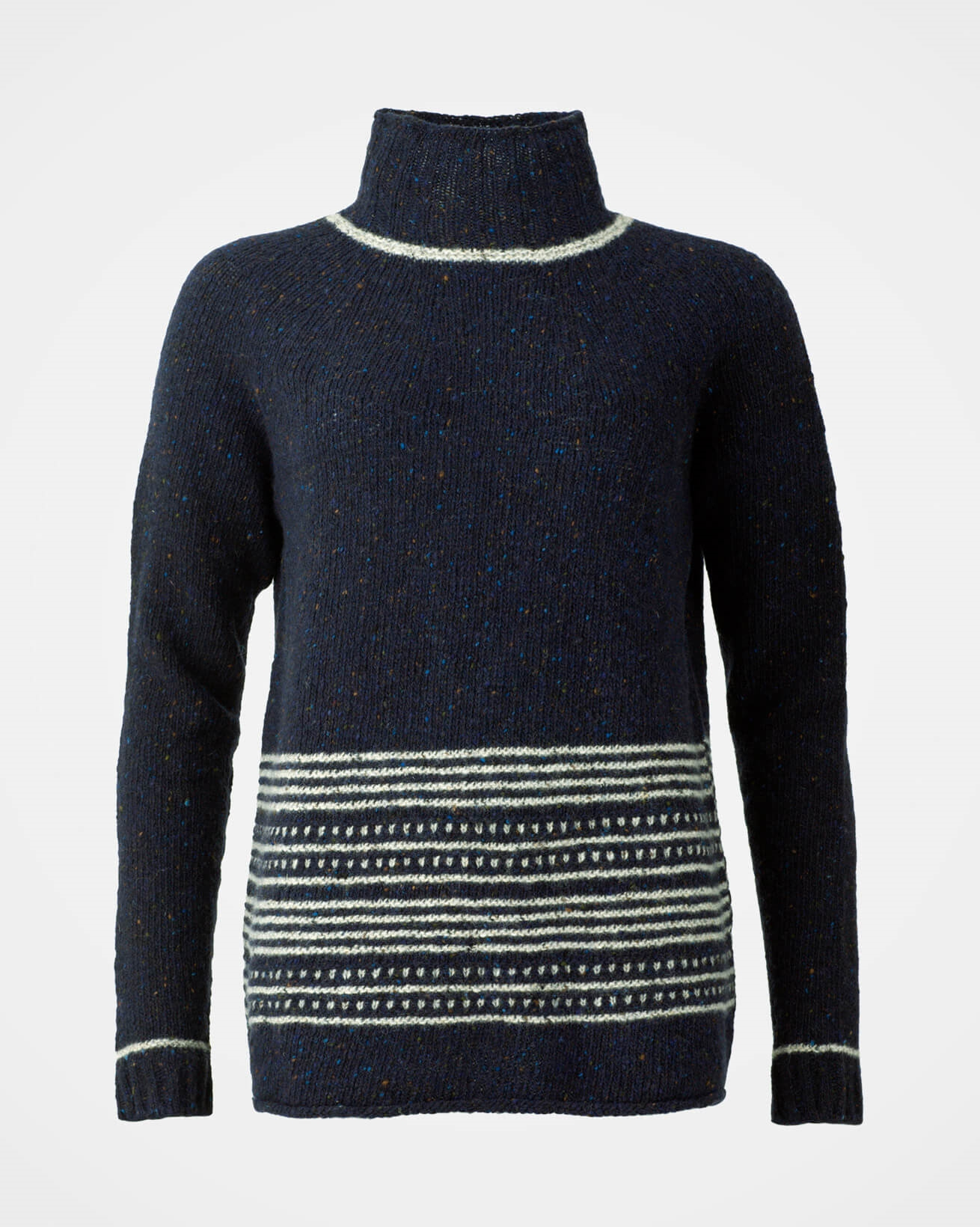 Flecked Funnel Neck - Small - Navy - 1182