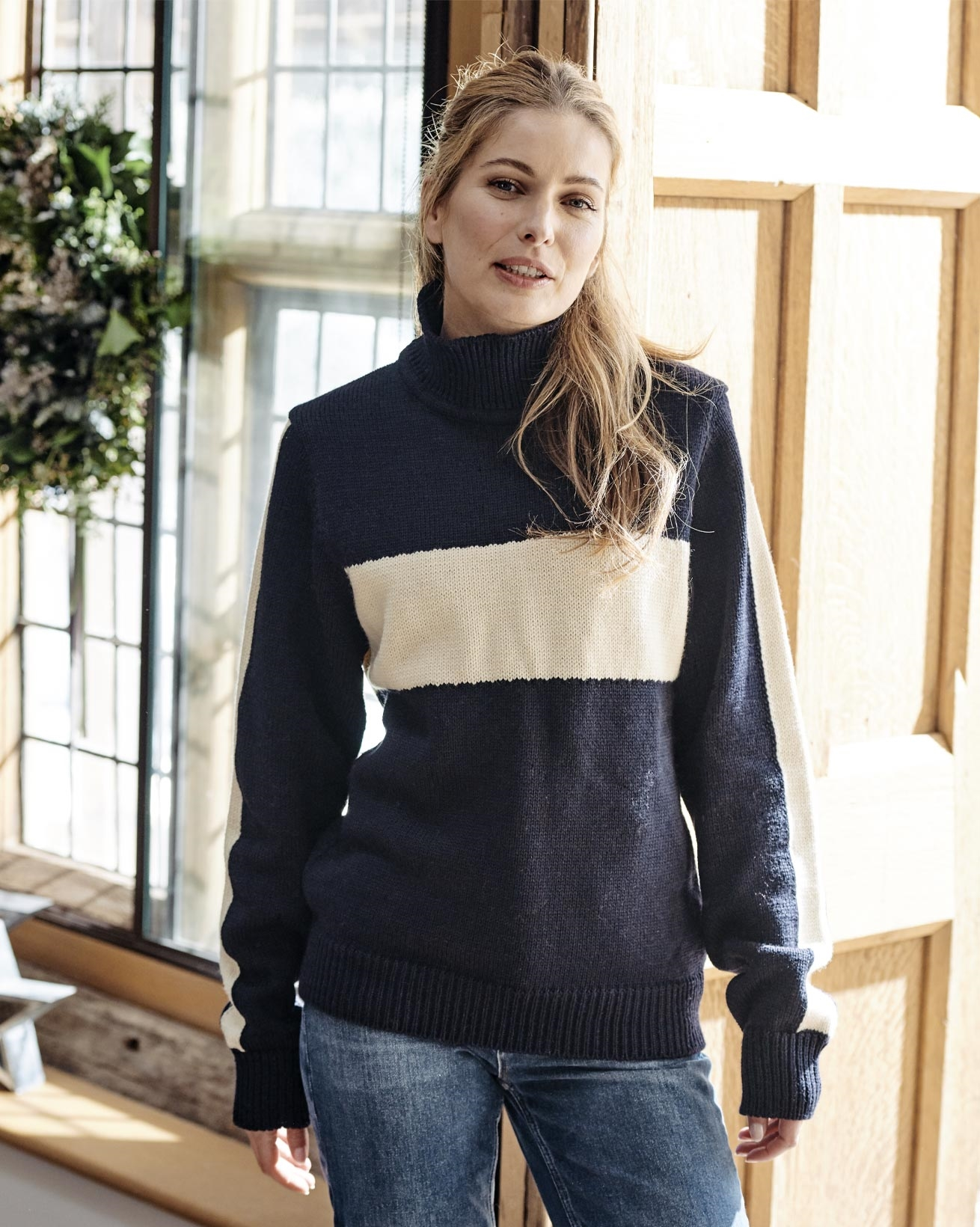 Alpine Stripe Funnel Neck