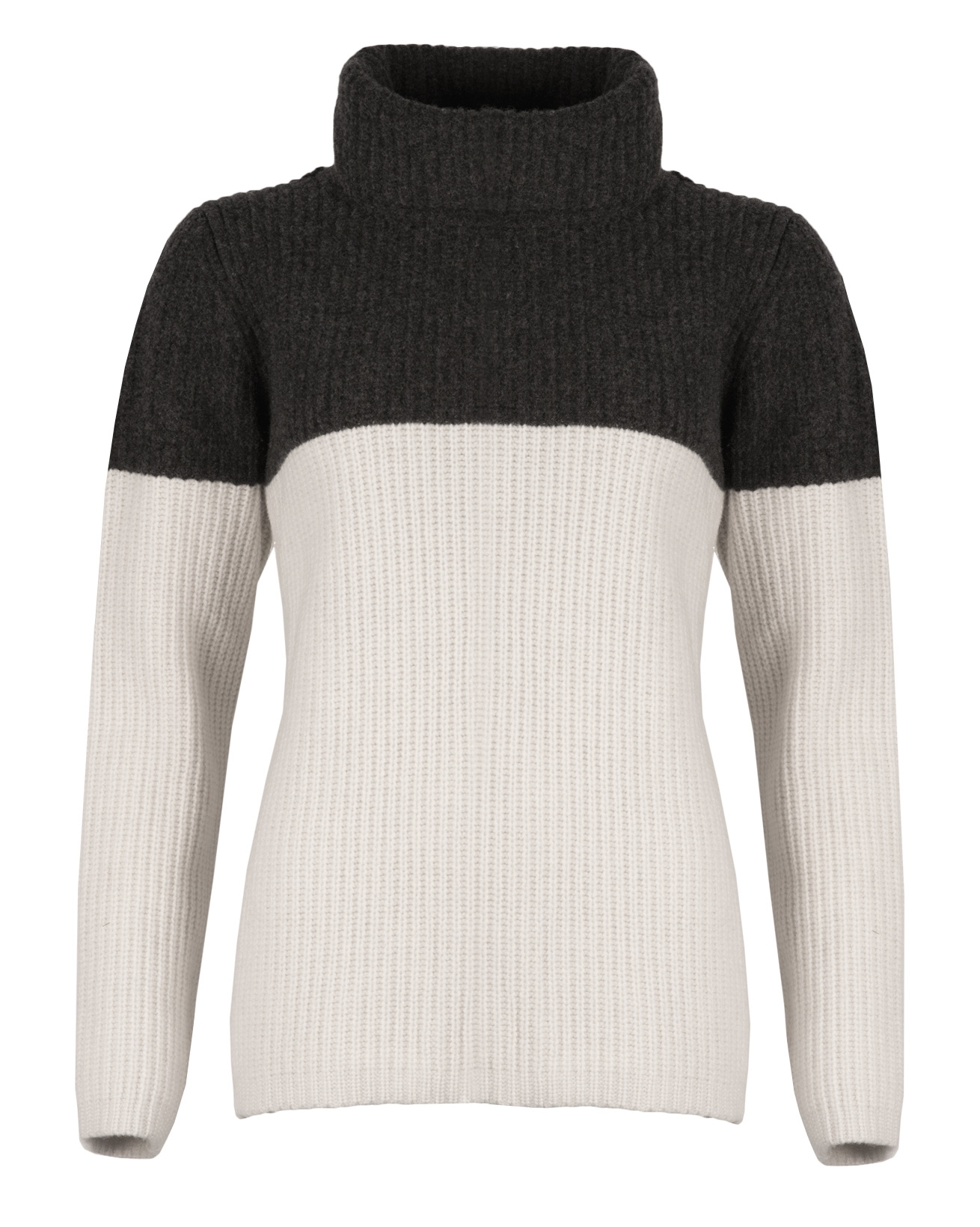 Colourblock Roll neck - Size Medium - Charcoal colourblock - 1567