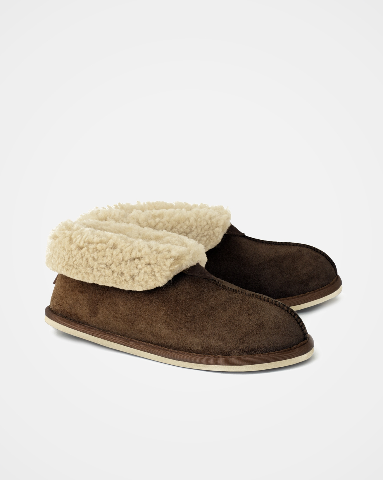 Ladies' Sheepskin Bootee Slippers - Size 8 - Mocca / Cream - 1349