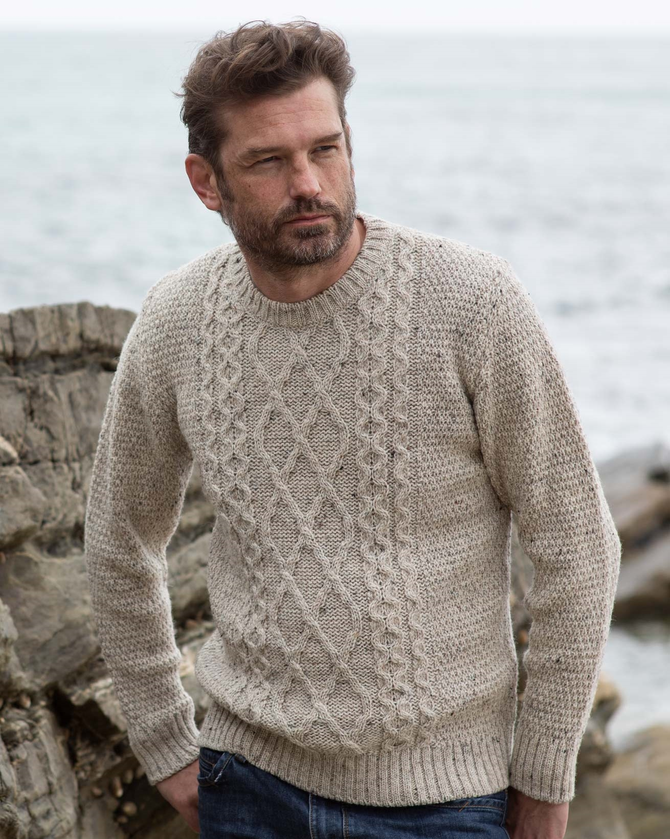 Men's Cable Crew Neck Sweater