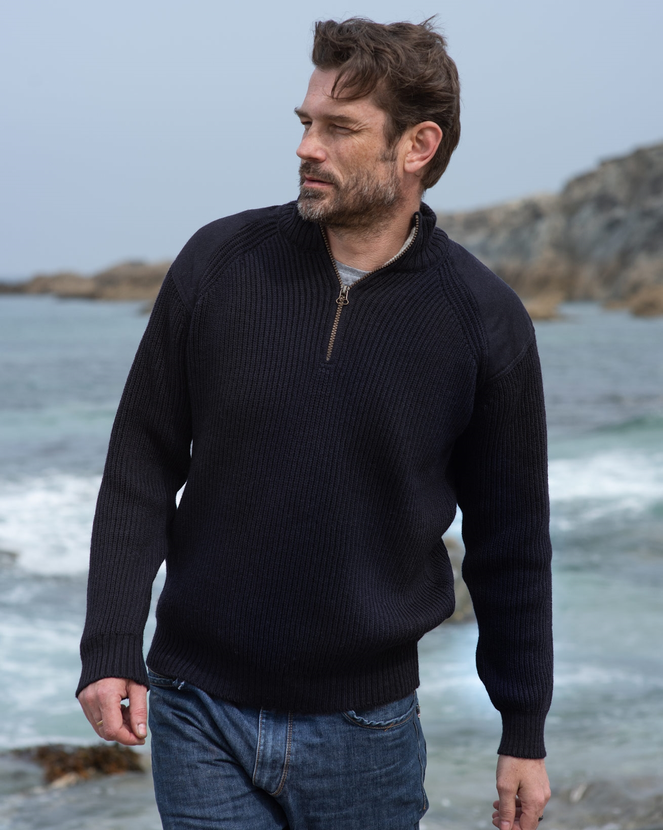 Men's Ribbed Half Zip Jumper