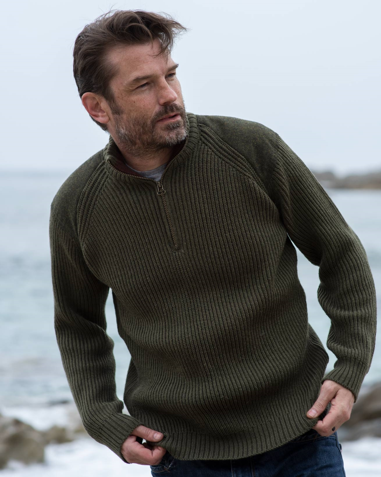 Men's Ribbed Half Zip Sweater