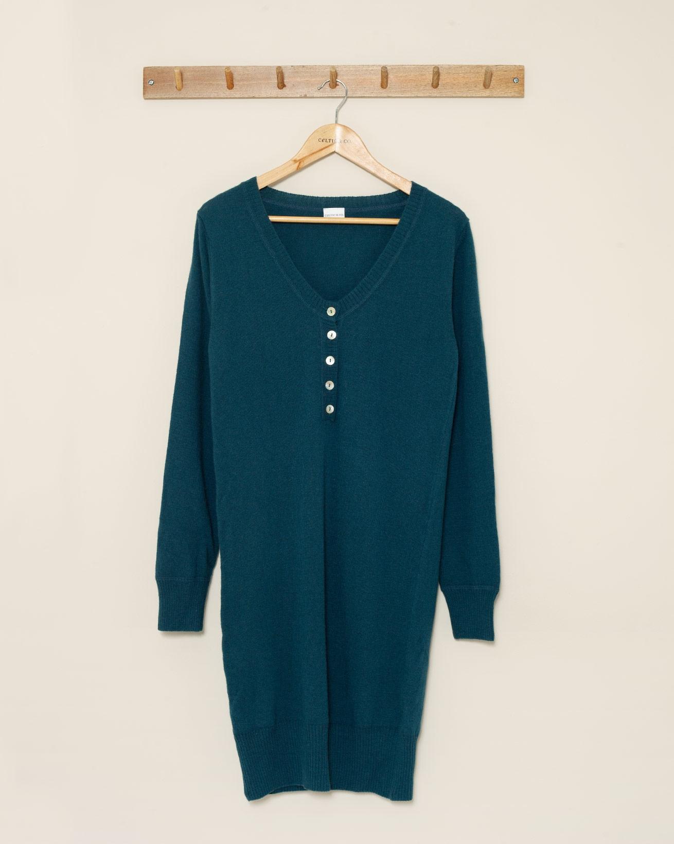 Henley Jumper Dress - Small - Teal - 1037