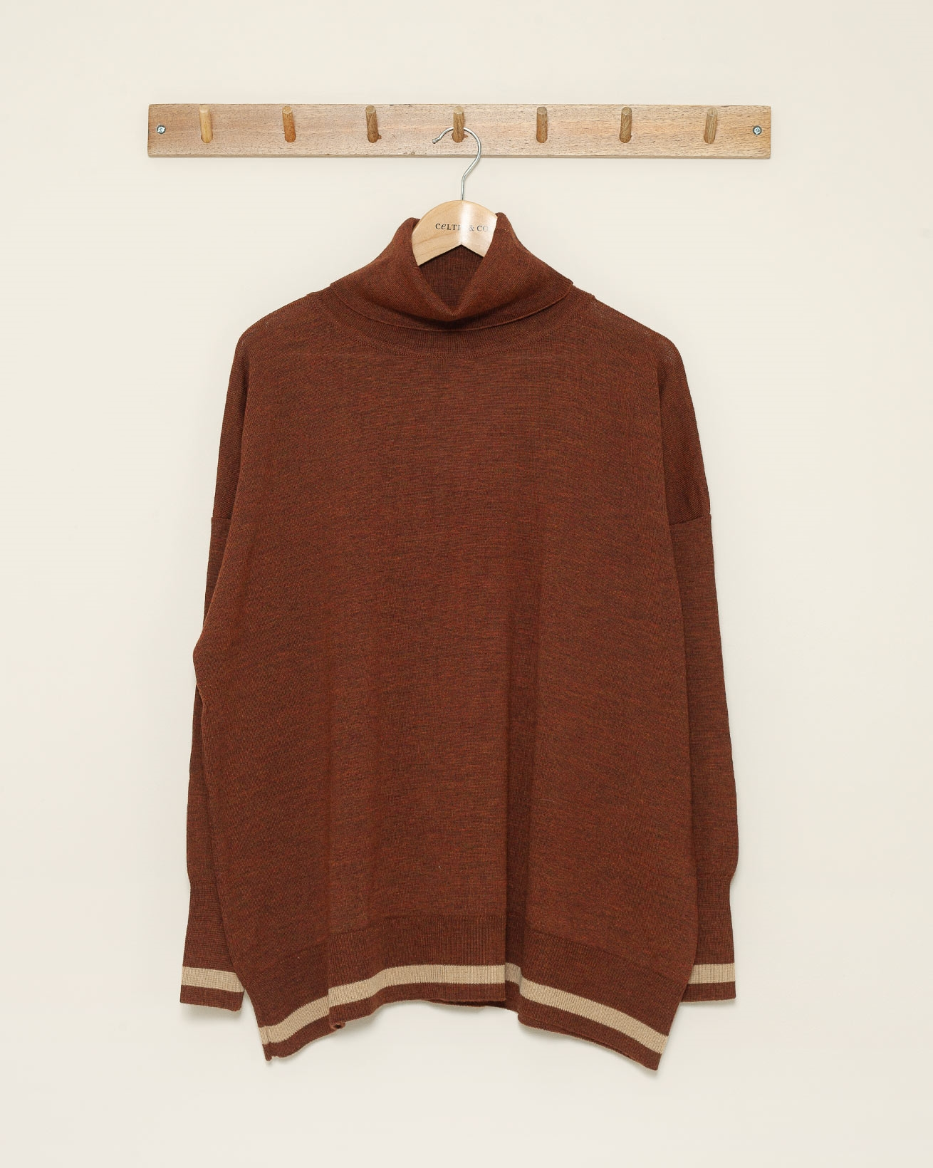 Slouchy Fine Knit Roll Neck - Size Medium - Rust Tipped - 1054