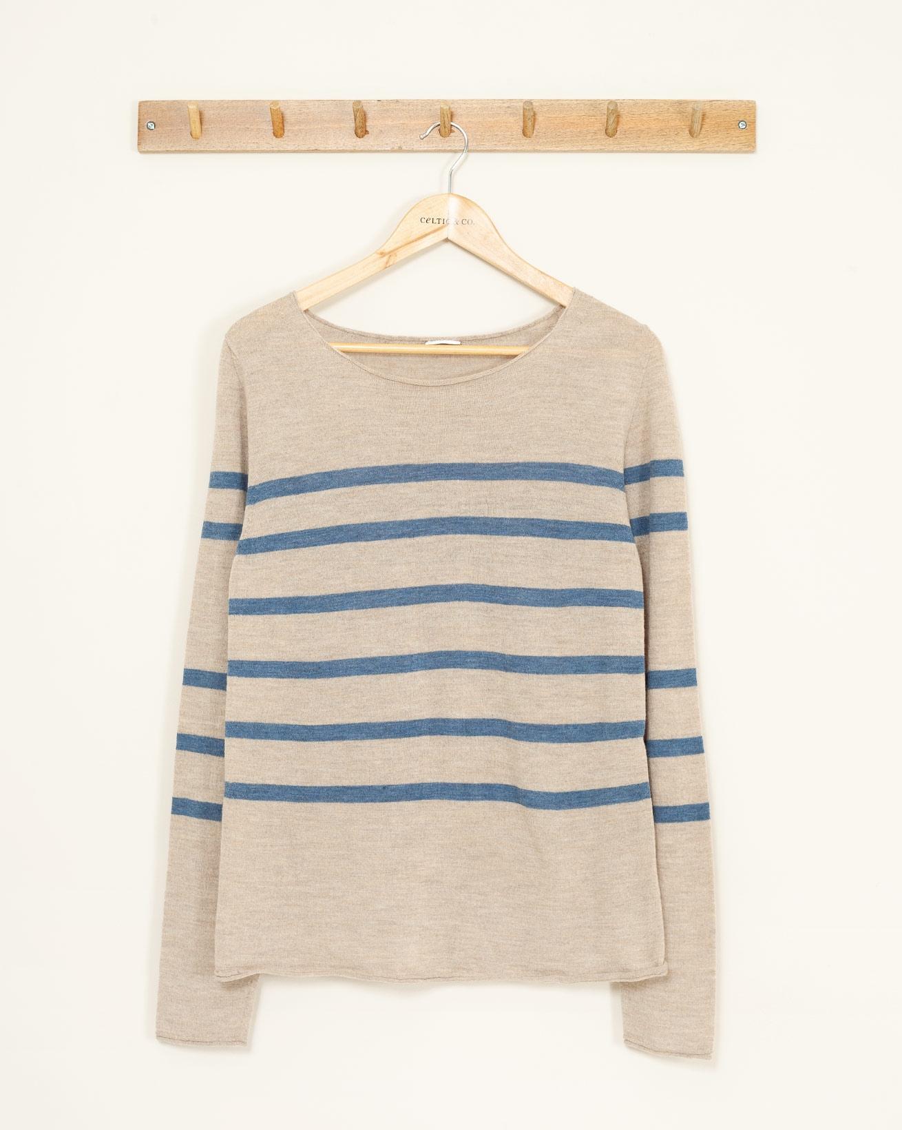 Fine Knit Merino Crew Neck - Small - Oatmeal/Denim - 1068