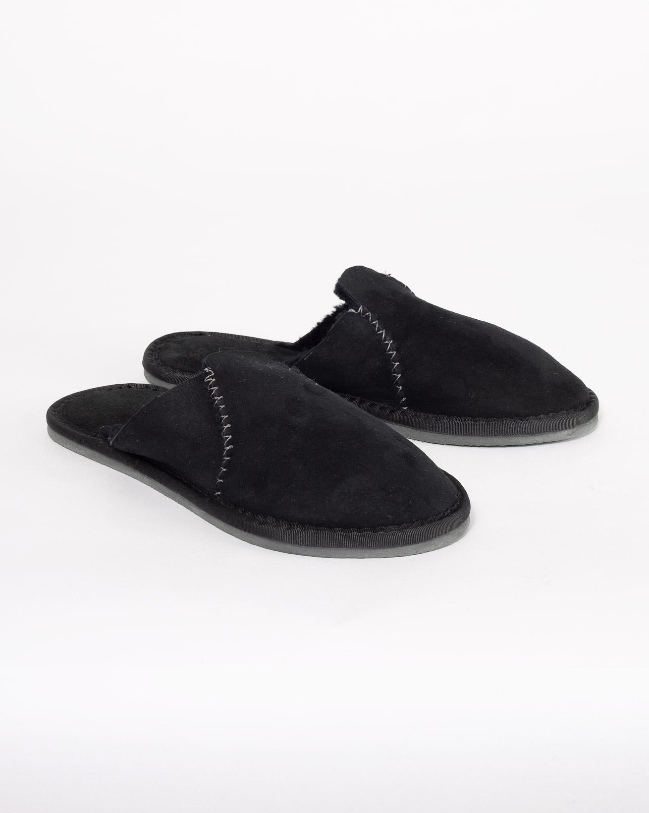 Sheepskin Moccasin Mules - Size 5 - Black - 1003