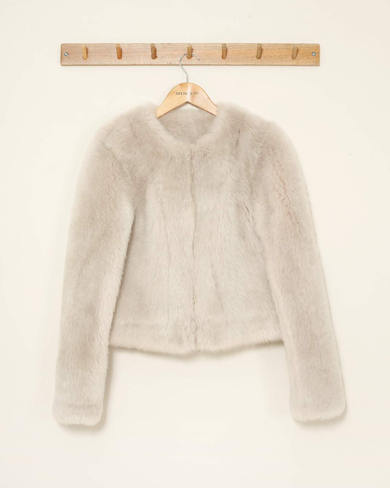 Teddy Collarless Short Jacket - Small - Ivory - 1119