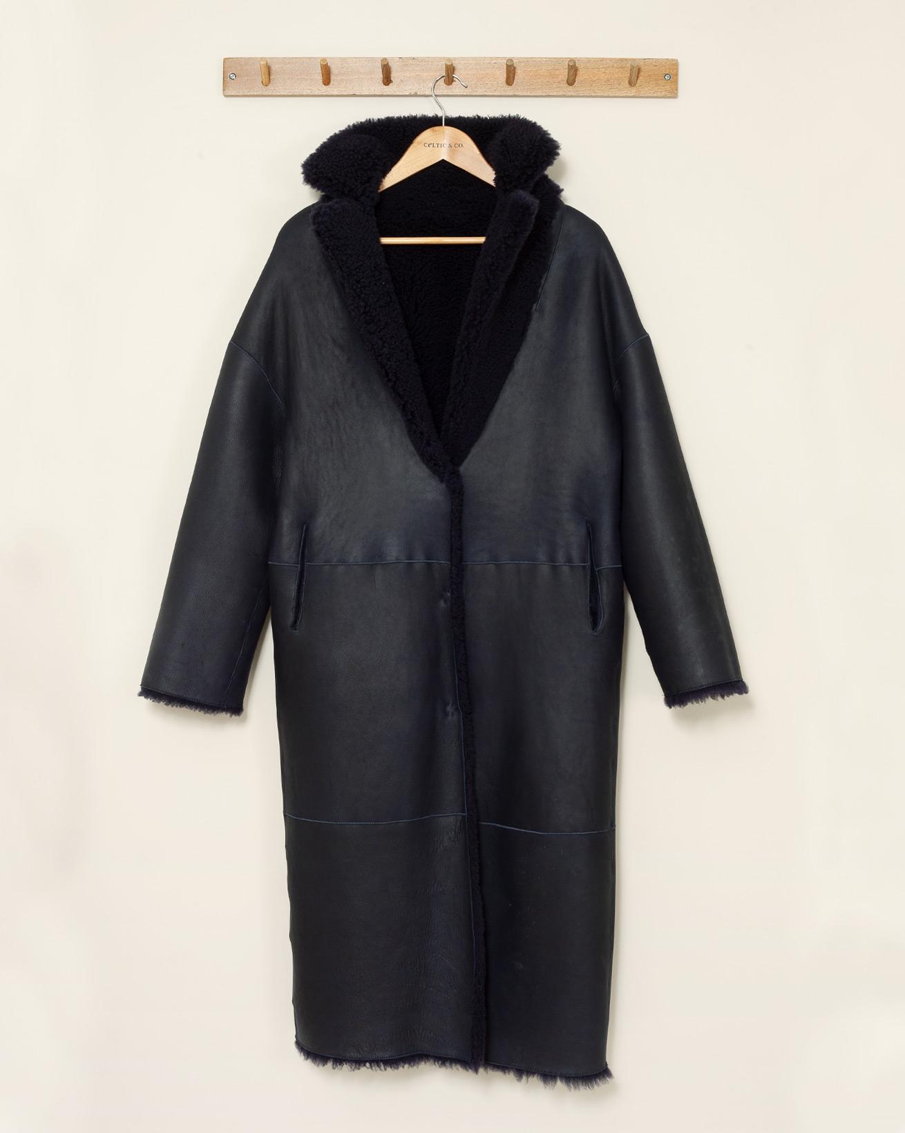 Reversible Long Teddy Coat - Small - Navy - 1125