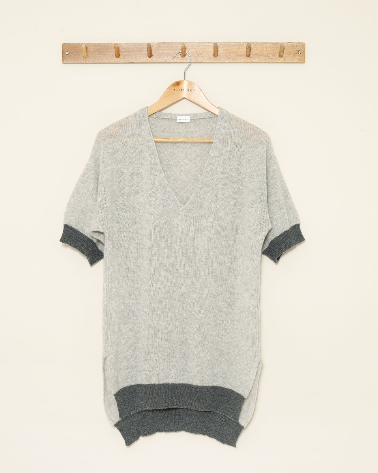 Cashmere V Neck Tunic - Large - Grey - 1027a