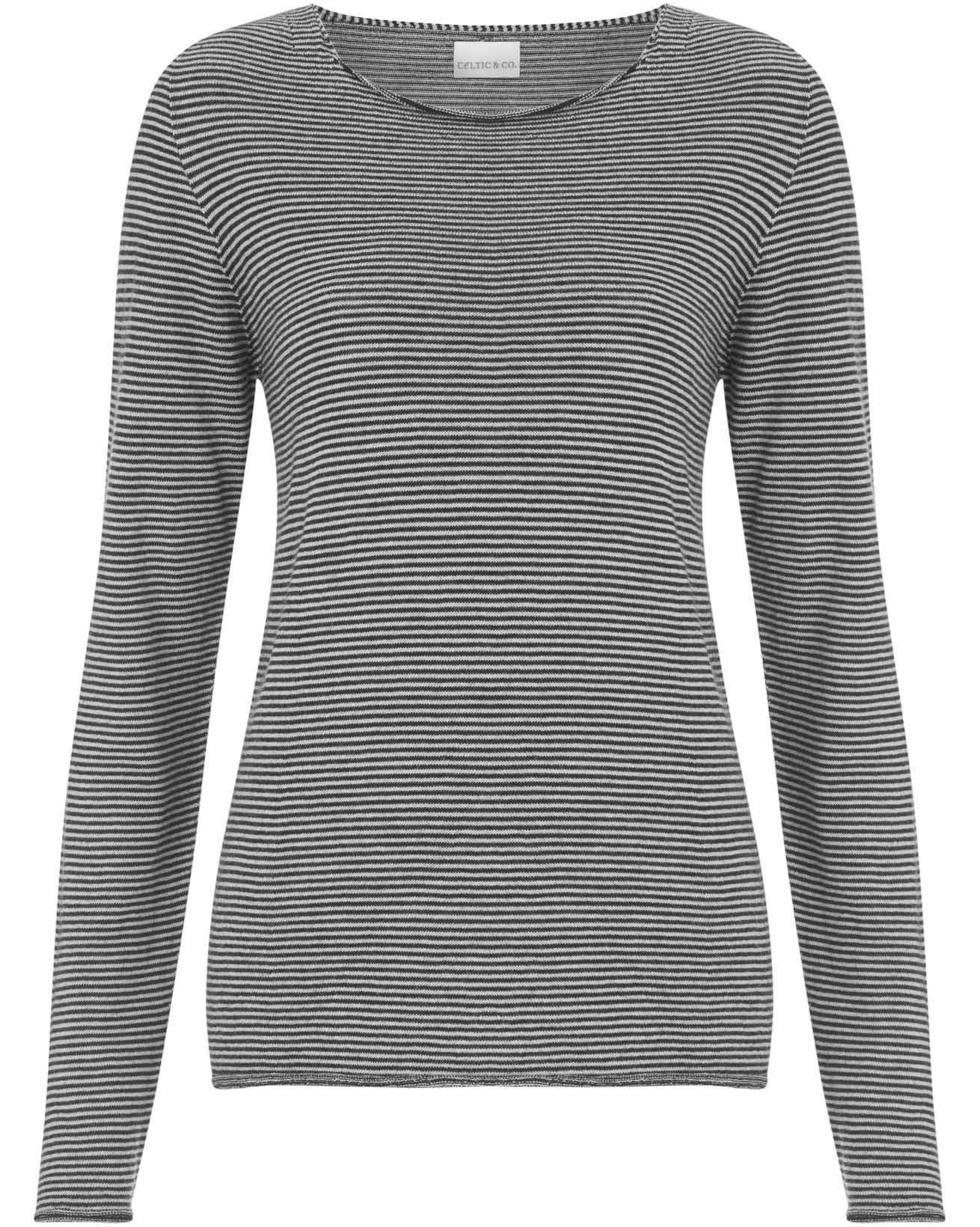 Fine Knit Merino Crew Neck - Size Extra Small - Putty Microstripe - 1565
