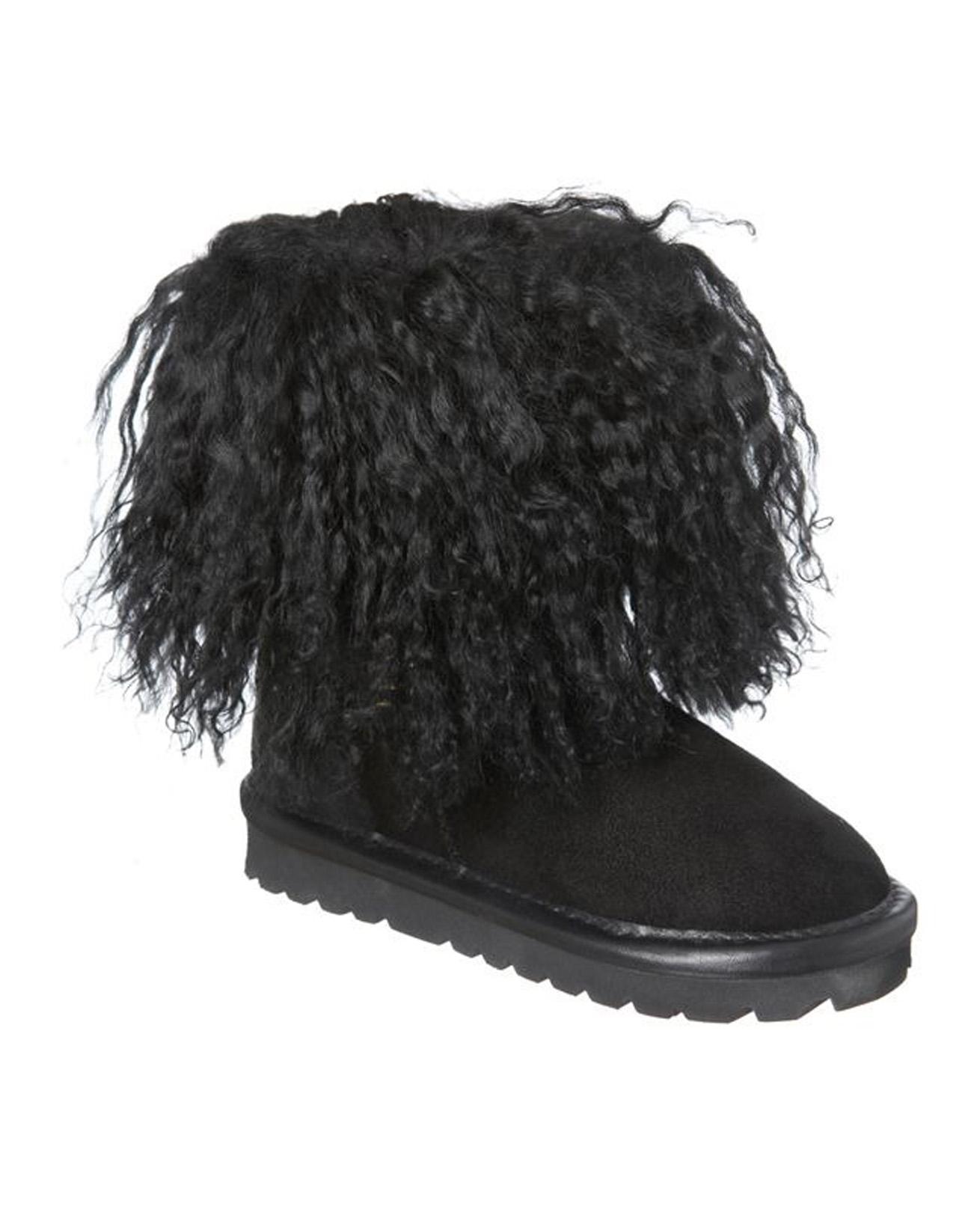 Kids Mongolian Boots - Size 5-6 - Black - 529